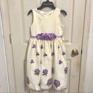 White and Lilac Formal Wedding Dress Girls Kids